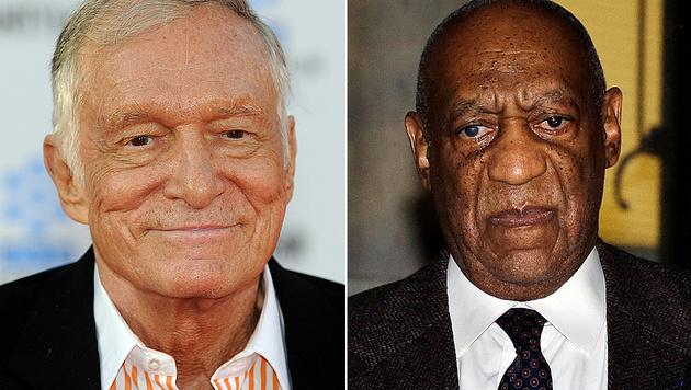 Hugh Hefner und Bill Cosby werden von einem Model verklagt. (Bild: APA/AFP PHOTO/GABRIEL BOUYS, AP)