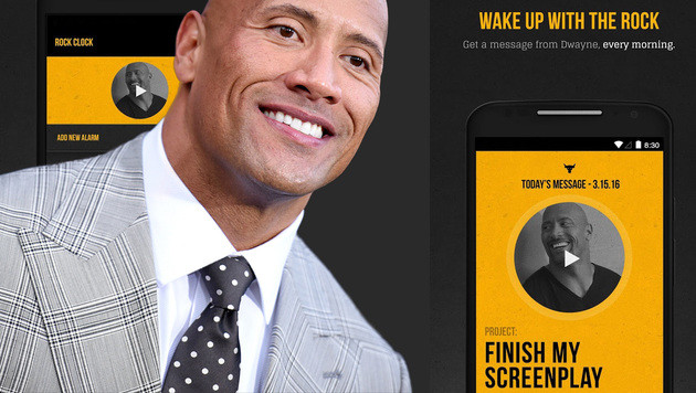 """The Rock"" scheucht Morgenmuffel aus den Federn (Bild: Richard Shotwell/Invision/AP, Google Play Store, krone.at-Grafik)"