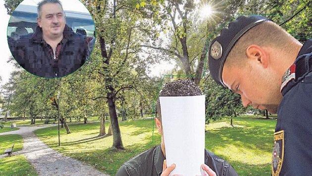 """Tatort Lehener Park, das Opfer Ahmed S. und der Hauptangeklagte,""""Raffi"""" S. mit verdecktem Gesicht (Bild: Fotomontage Franz Neumayr, Markus Tschepp)"""