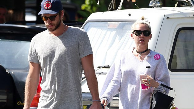 Liam Hemsworth und Miley Cyrus im April 2016 (Bild: Viennareport)