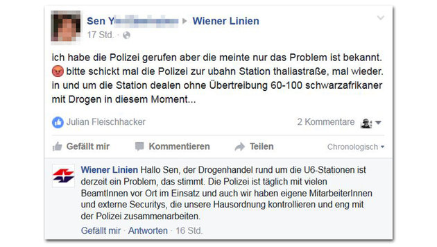 U6 als Drogen-Hotspot: Hilferuf via Facebook (Bild: facebook.com)