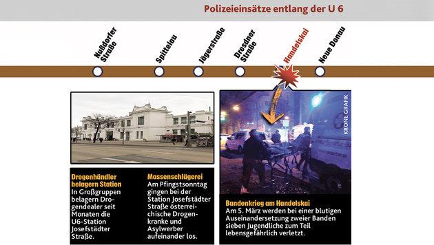 U6 als Drogen-Hotspot: Hilferuf via Facebook (Bild: Krone-Grafik)