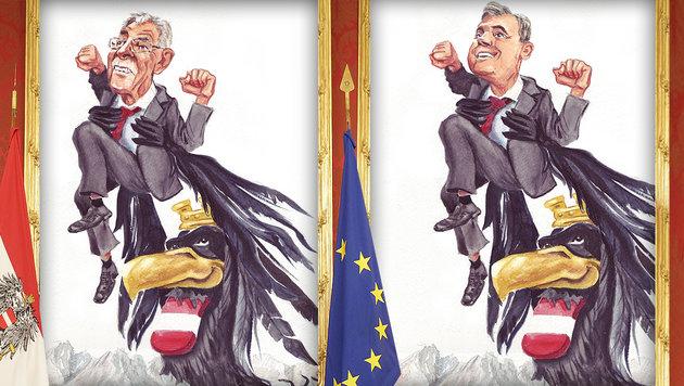 "Hofburg-Wahl in vier Wochen: Es wird ""arschknapp"" (Bild: APA/Bundesheer/Peter Lechner, Peter Lenhart (Karikaturen))"