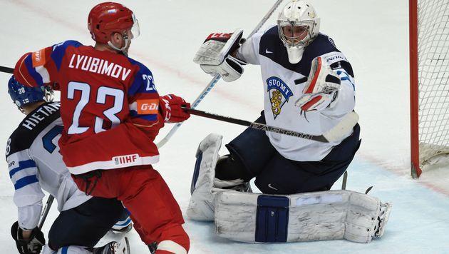 Finnland nach 3:1 gegen Russland erster Finalist (Bild: APA/AFP/YURI KADOBNOV)