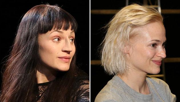 """Mavie Hörbiger mit dunkler Perücke und """"falscher Nase"""" (links) und ungeschminkt (rechts) (Bild: Karl Schöndorfer)"""