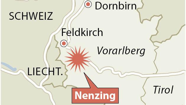 Die Ortschaft Nenzing liegt im Bezirk Bludenz nahe Feldkirch in Vorarlberg. (Bild: APA)