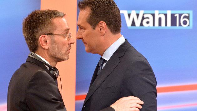 Anspannung bei FPÖ-Parteichef Heinz-Christian Strache (re.) und FPÖ-Generalsekretär Herbert Kickl (Bild: APA/Harald Schneider)