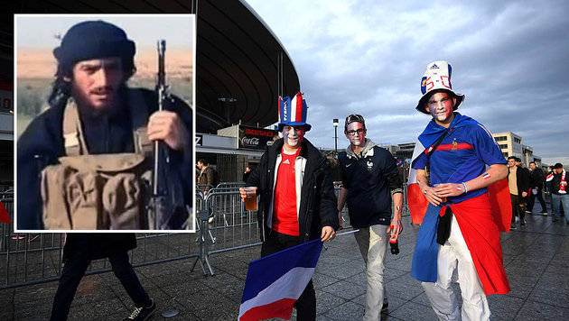 IS-Sprecher Adnani droht mit Anschlägen während der Fußball-EM in Frankreich. (Bild: APA/AFP/FRANCK FIFE, wikipedia.org)