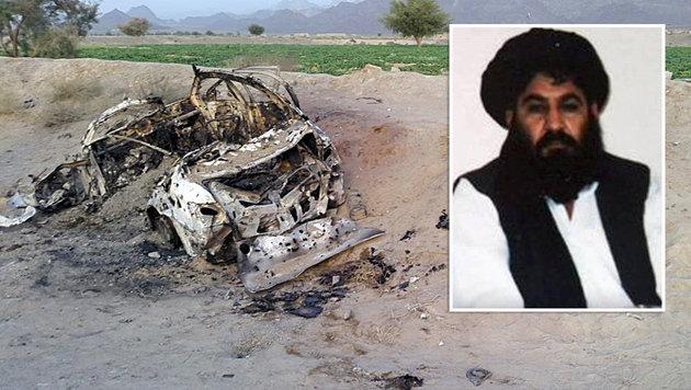 In diesem Fahrzeug soll Taliban-Chef Mullah Akhtar Mansur unterwegs gewesen sein. (Bild: Associated Press)