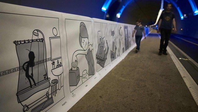 Stadt Lyon stellt längsten Comicstrip der Welt vor (Bild: APA/AFP/Jean-Philippe Ksiazek)