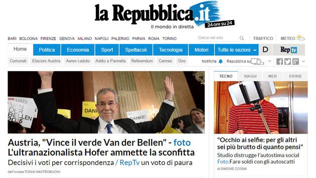 Präsident Van der Bellen: So reagiert das Ausland (Bild: larepublicca.it)
