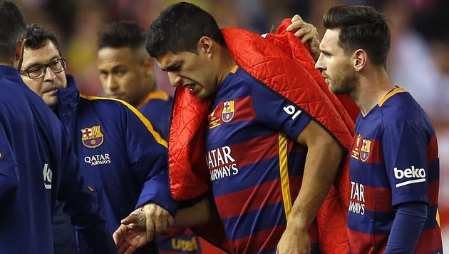 Muskelverletzung! Suarez bangt um Copa-Teilnahme (Bild: AP)