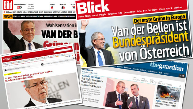 Präsident Van der Bellen: So reagiert das Ausland (Bild: Bild, Blick, Spiegel Online, theguardian)