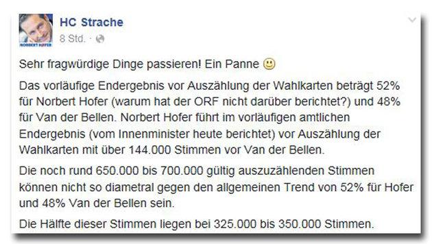 FPÖ drückt Wahl bereits Fälschungsstempel auf (Bild: Screenshot Facebook.com/HC Strache)
