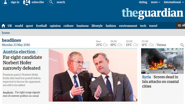 Präsident Van der Bellen: So reagiert das Ausland (Bild: theguardian.co.uk)