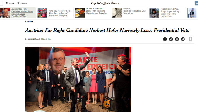 Präsident Van der Bellen: So reagiert das Ausland (Bild: nytimes.com)