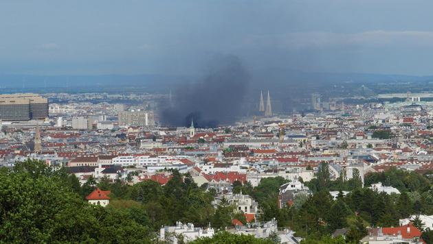 Rauch über Wien: Leserreporter Dominik Thomann fotografierte den Brand vom Wilhelminenberg aus. (Bild: Leserreporter Dominik Thomann)