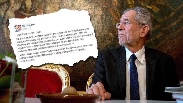 """Bestürzung nach Aufrufen zur Gewalt gegen """"VdB"""" (Bild: APA/AFP/JOE KLAMAR, facebook.com/hcstrache)"""