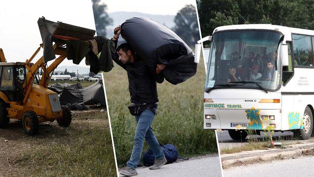 Chaos-Camp Idomeni: Polizei begann R�umung (Bild: AP. APA/AFP/POOL/YANNIS KOLESIDIS, APA/AFP/SAKIS MITROLIDIS)