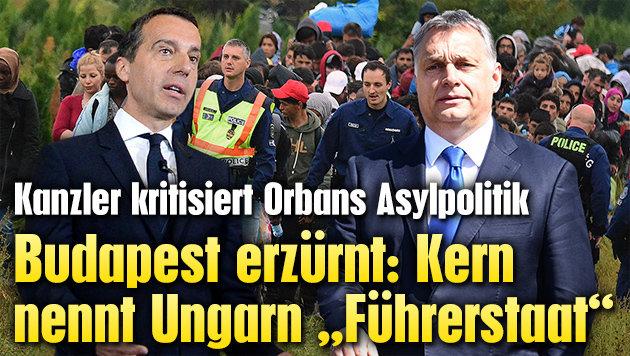 """Kern nennt Ungarn """"F�hrerstaat"""" - Budapest erz�rnt (Bild: AFP ,APA/ROLAND SCHLAGE, APA/dpa/Uwe Anspach)"""