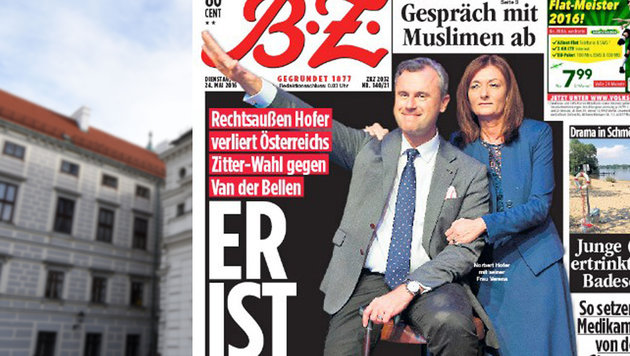 """Medienecho: Hofer mit """"Hitlergruß"""" & als """"Führer"""" (Bild: APA/HELMUT FOHRINGER, Berliner Zeitung)"""