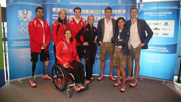 ÖOC-Sportler in Lederhosen nach Rio (Bild: Kristian Bissuti)