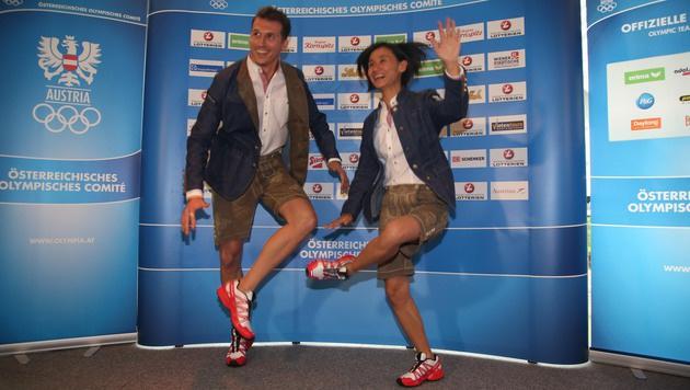 Fechter Rene Pranz und Tischtennis-Spielerin Liu Jia (Bild: KRISTIAN BISSUTI)