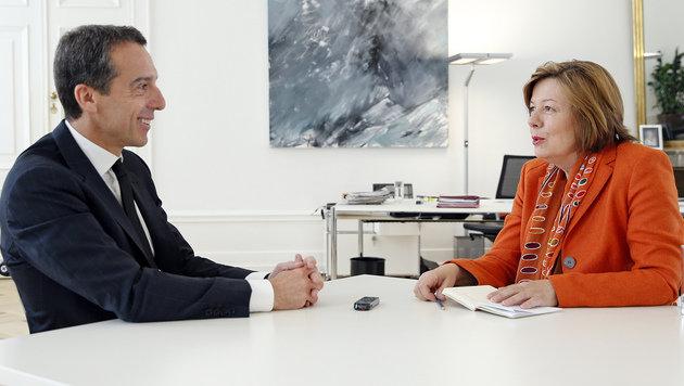 Kanzler Christian Kern im Interview mit Conny Bischofberger (Bild: Reinhard Holl)