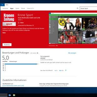 """""""Krone Sport""""-App jetzt auch f�r Windows 10 (Bild: Kronen Zeitung)"""