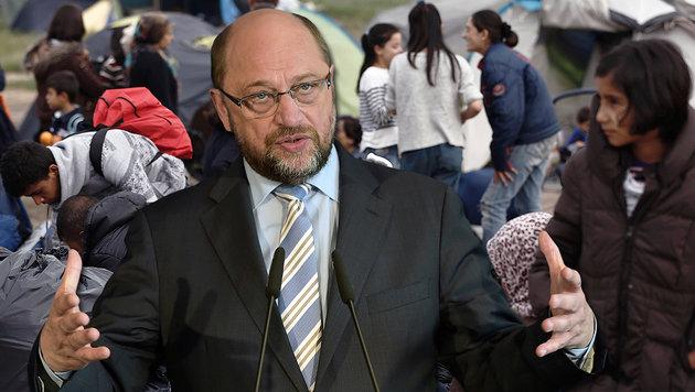 """Schulz: """"Idomeni ist ein Schandfleck für die EU"""" (Bild: AFP/POOL/YANNIS KOLESIDIS, AFP /PATRICK HERTZOG)"""