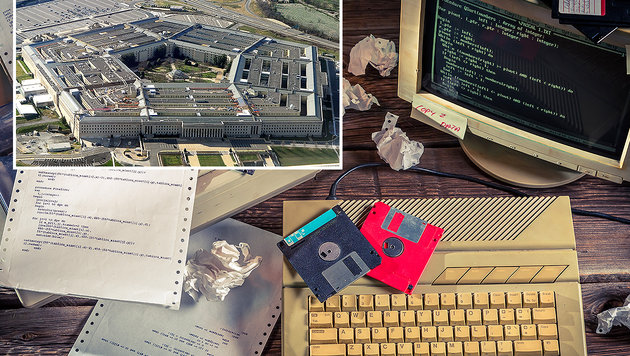 Im Pentagon (kl. Bild) wird völlig veraltete IT eingesetzt. (Bild: AFP/STAFF, thinkstockphotos.de (Symbolbild))
