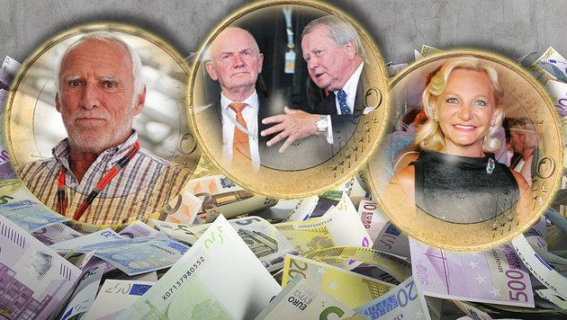 Ranking: Das sind die 100 reichsten Österreicher (Bild: APA/ERWIN SCHERIAU, APA/OTS/Hautzinger, EPA/ULI DECK)