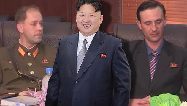 S�hne von US-Soldat werben f�r Kim Jong Un (Bild: APA/AFP/KCNA, YouTube.com)