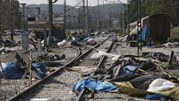 Chaos-Camp in Idomeni nun vollständig geräumt (Bild: EPA)