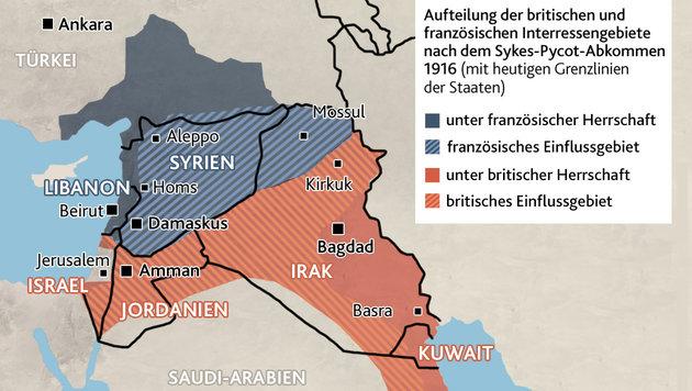 """Von """"Lawrence of Arabia"""" bis zum IS-Terrorkalifen (Bild: Krone-Grafik)"""