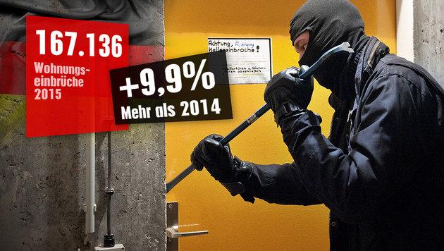 Gegenüber 2014 gab es in Deutschland im Vorjahr eine fast zehnprozentige Steigerung an Einbrüchen. (Bild: dpa, thinkstockphotos.de, Polizeiliche Kriminalstatistik 2015)