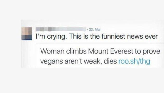 Geschmackloser Tweet zum Tod der jungen Frau (Bild: twitter.com)