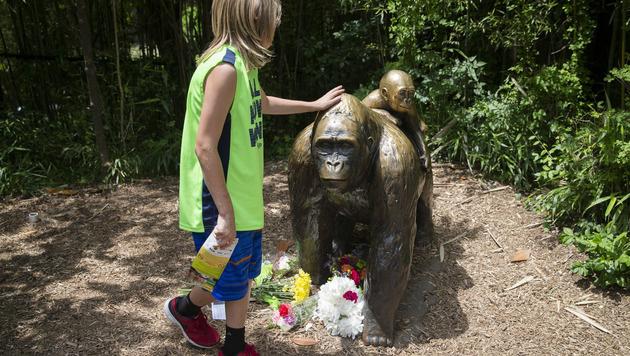 Im Zoo legten Menschen Blumen vor einer Gorilla-Statue nieder. (Bild: AP)
