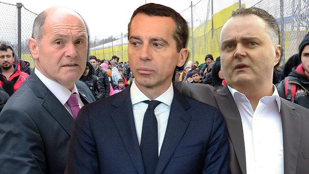 """""""Asyl-Tricks""""? Erster Krach in Regierung Kern (Bild: Klemens Groh, APA/ERWIN SCHERIAU, APA/ROLAND SCHLAGER, AP/ZAK)"""
