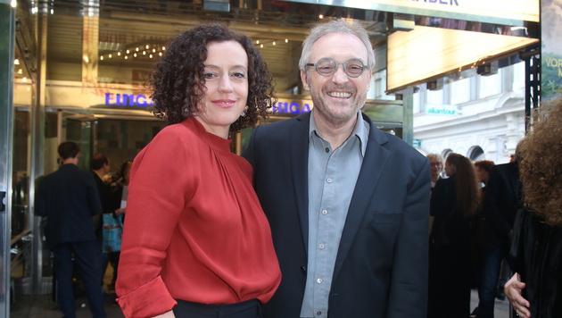 Josef Hader mit Regisseurin Maria Schrader im Wiener Gartenbaukino (Bild: Kristian Bissuti)