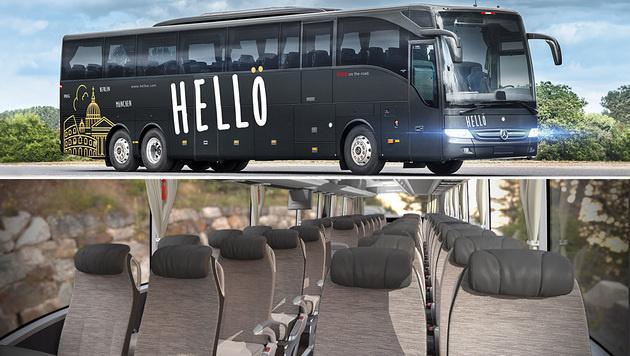 """Der """"Hellö""""-Bus von außen und von innen (Bild: ÖBB)"""