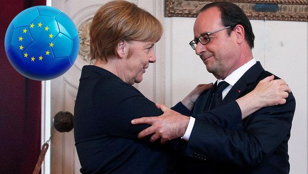 Angela Merkel und François Hollande – darf einer von beiden über den EM-Titel für sein Land jubeln? (Bild: thinkstockphotos.de, APA/AFP/POOL/THIBAULT CAMUS)