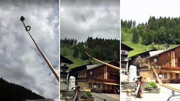 Video: Kärntner Maibaum stürzt auf Gasthaus (Bild: Screenshot Facebook.com)