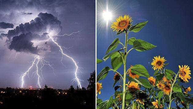 Schwere Unwetter vor sommerlichem Wochenende (Bild: dpa/Florian Gaertner, dpa/Jan-Philipp Strobel)