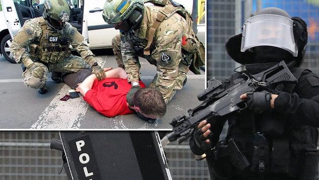 Der Mann (im kl. Bild bei seiner Festnahme in der Ukraine) hatte ein ganzes Waffenarsenal bei sich. (Bild: APA/AFP/Ukraine's SBU Security Service, AFP)