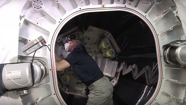 Astronaut Jeff Williams im Inneren von BEAM (Bild: NASA)