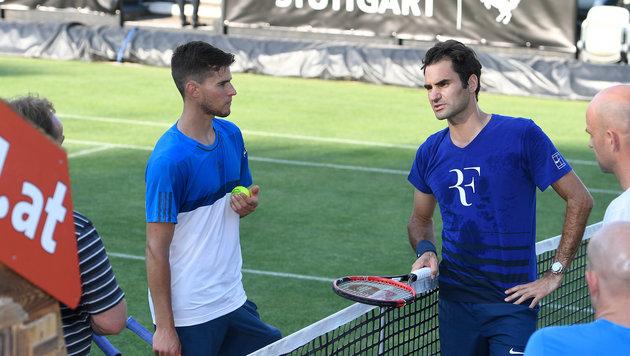 Thiems erstes Training als Top-10-Star mit Federer (Bild: Paul Zimmer)