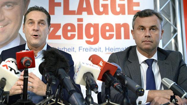 Strache und Präsidentschaftskandidat Norbert Hofer (Bild: APA/HANS KLAUS TECHT)