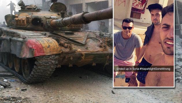 """Drei Briten erfanden """"Hangover"""" in Syrien (Bild: STR/AFP/picturedesk.com, Snapchat)"""