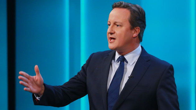 David Cameron w�hrend der TV-Debatte (Bild: APA/AFP/Rex Features/MATT FROST)
